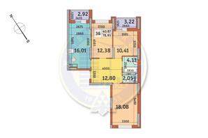 ЖК Медовий-2: планування 3-кімнатної квартири 78.93 м²