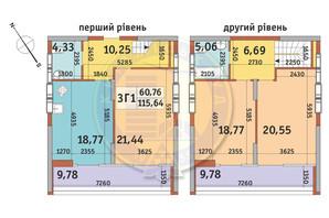 ЖК Медовий-2: планування 3-кімнатної квартири 115.64 м²
