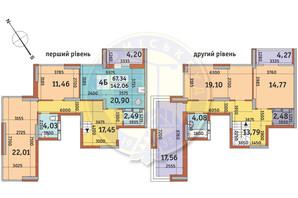 ЖК Медовий-2: планування 4-кімнатної квартири 142.06 м²
