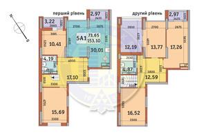 ЖК Медовий-2: планування 5-кімнатної квартири 153.1 м²