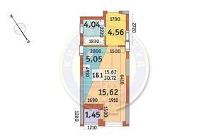 ЖК Медовий-2: планування 1-кімнатної квартири 30.72 м²