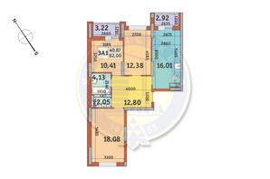 ЖК Медовий-2: планування 3-кімнатної квартири 82 м²