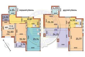 ЖК Медовий-2: планування 4-кімнатної квартири 143.02 м²
