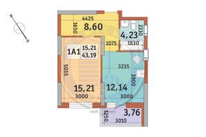 ЖК Медовий-2: планування 1-кімнатної квартири 43.19 м²