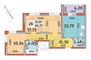 ЖК Медовий-2: планування 2-кімнатної квартири 63.27 м²