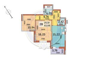 ЖК Медовий-2: планування 2-кімнатної квартири 63.68 м²