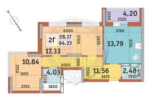 ЖК Медовий-2: планування 2-кімнатної квартири 64.23 м²