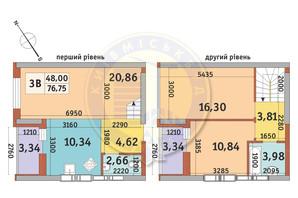 ЖК Медовий-2: планування 3-кімнатної квартири 76.75 м²