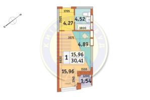 ЖК «Медовый»: планировка 1-комнатной квартиры 30.41 м²