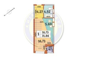 ЖК «Медовый»: планировка 1-комнатной квартиры 31.86 м²