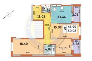 ЖК «Медовый»: планировка 3-комнатной квартиры 80.08 м²