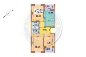 ЖК «Медовый»: планировка 3-комнатной квартиры 78.7 м²
