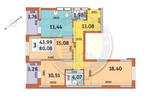 ЖК Медовый: планировка 3-комнатной квартиры 80.08 м²
