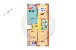 ЖК Медовый: планировка 3-комнатной квартиры 78.7 м²