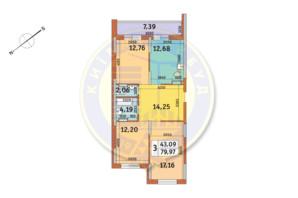 ЖК «Медовый»: планировка 3-комнатной квартиры 79.97 м²