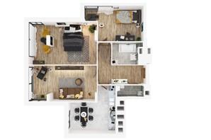 ЖК Медовий сад: планування 3-кімнатної квартири 93 м²