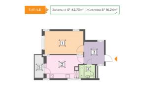 ЖК Melody Park: планування 1-кімнатної квартири 42.73 м²