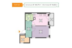 ЖК Melody Park: планування 1-кімнатної квартири 44.77 м²