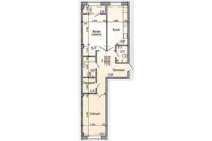 ЖК Меридиан: планування 2-кімнатної квартири 71.15 м²