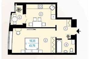 ЖК Меридиан: планування 1-кімнатної квартири 43.76 м²