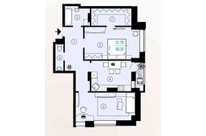 ЖК Меридиан: планування 2-кімнатної квартири 67.95 м²
