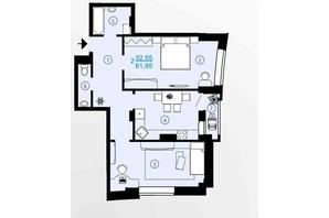 ЖК Меридиан: планування 2-кімнатної квартири 61.95 м²