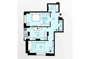 ЖК Меридиан: планування 2-кімнатної квартири 61.41 м²