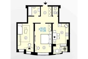 ЖК Меридиан: планування 2-кімнатної квартири 61.05 м²