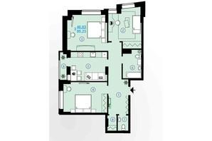 ЖК Меридиан: планування 3-кімнатної квартири 85.23 м²