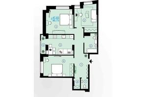 ЖК Меридиан: планування 3-кімнатної квартири 85.73 м²