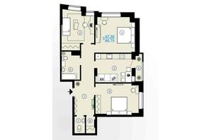 ЖК Меридиан: планування 3-кімнатної квартири 86.75 м²