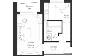 ЖК Металіст: планування 1-кімнатної квартири 38.6 м²