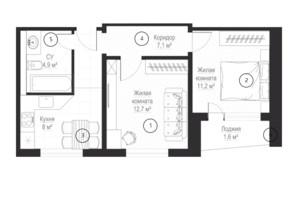 ЖК Металлист: планировка 2-комнатной квартиры 43.9 м²