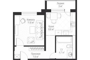 ЖК Металлист: планировка 1-комнатной квартиры 34 м²