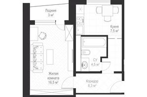 ЖК Металлист: планировка 1-комнатной квартиры 38.6 м²