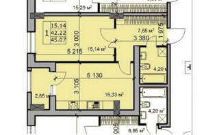 ЖК Метрополь: планировка 1-комнатной квартиры 45.07 м²