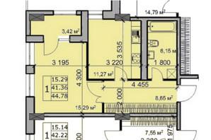 ЖК Метрополь: планировка 1-комнатной квартиры 44.78 м²