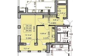ЖК Метрополь: планировка 1-комнатной квартиры 44.86 м²