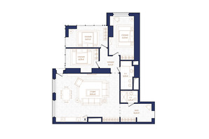 ЖК Metropole: планировка 2-комнатной квартиры 127 м²