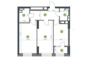 ЖК «Метрополіс»: планування 2-кімнатної квартири 88.86 м²
