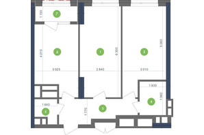 ЖК Метрополіс: планування 2-кімнатної квартири 65.7 м²