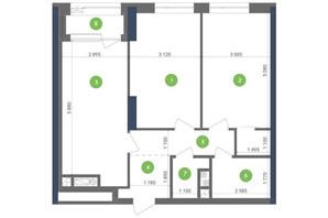 ЖК Метрополіс: планування 2-кімнатної квартири 68.68 м²