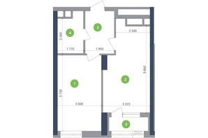 ЖК Метрополіс: планування 1-кімнатної квартири 48.06 м²