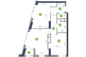 ЖК Метрополіс: планування 2-кімнатної квартири 70.39 м²