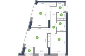 ЖК Метрополіс: планування 2-кімнатної квартири 69.49 м²