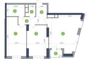 ЖК Метрополіс: планування 2-кімнатної квартири 81.11 м²