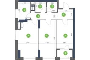 ЖК Метрополіс: планування 2-кімнатної квартири 78.24 м²