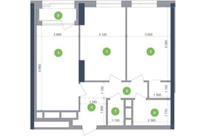 ЖК Метрополіс: планування 2-кімнатної квартири 67.88 м²