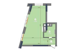 ЖК Метрополіс: планування 1-кімнатної квартири 40.48 м²