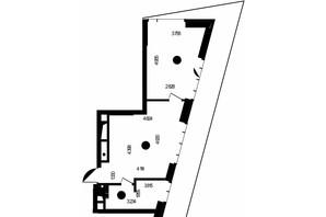 ЖК Метрополіс: планування 1-кімнатної квартири 44.32 м²